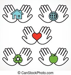 ambiente, iconos, manos humanas