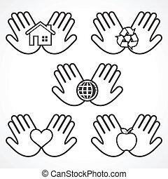 ambiente, manos, conjunto, iconos