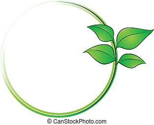 ambiente, marco, con, hojas