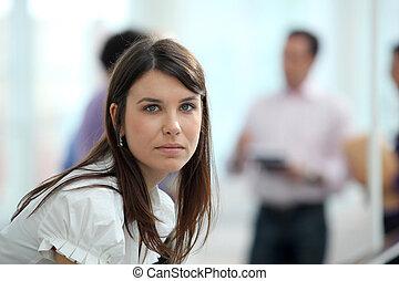 ambiente, mujer, joven, oficina