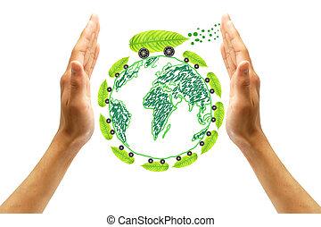 ambiente, proteggere, concetto