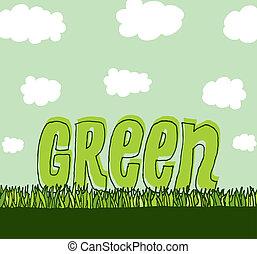 ambiente, pulito, verde, /, copyspace
