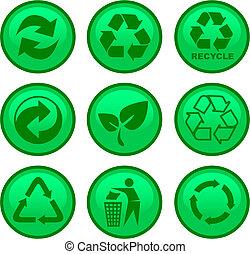 ambiente, reciclar, iconos