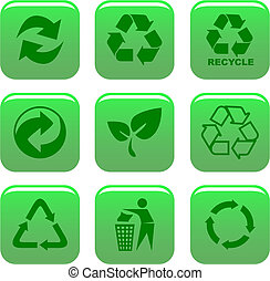 ambiente, riciclare, icone