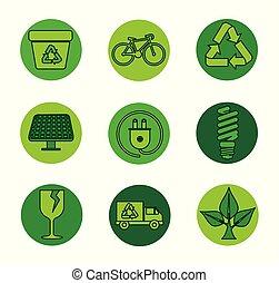 ambiente, set, ecologia, protezione, etichetta