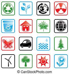 ambiente, set, icona