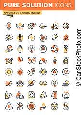 ambiente, tela, línea, delgado, iconos