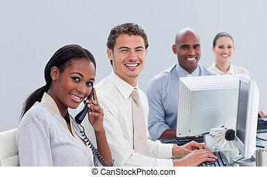 ambitieus, handel team, op het werk