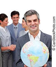 ambitieux, directeur, et, sien, équipe, tenue, a, globe...