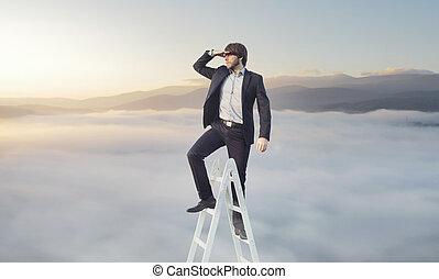 ambitieux, homme affaires, chercher, sien, cible