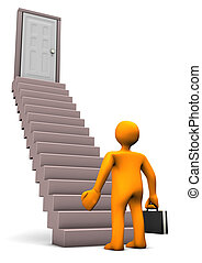 Orange cartoon character with black case with stair. White background.