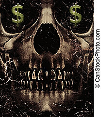 Dark photo collage concept artwork about love for money or ambition showing a dark skull with his eyes with dollar sign symbols