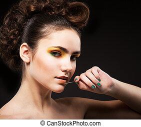 ambition., glamor., 세련시키는, 숙녀, 패션 모델, 와, 바늘