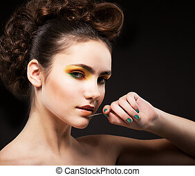 ambition., glamor., sofisticato, signora, modella, con, ago