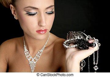 ambition, och, glupskhet, in, mode, kvinna, med, smycken