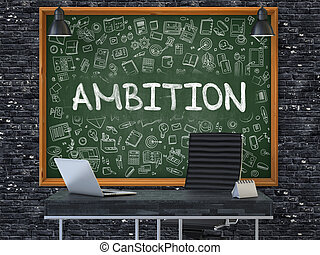 Ambition on Chalkboard with Doodle Icons.