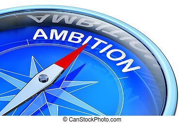 ambition - 3D rendering of a compass with a ambition icon