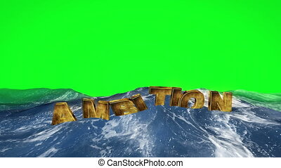 Ambition text floating in the water against green screen