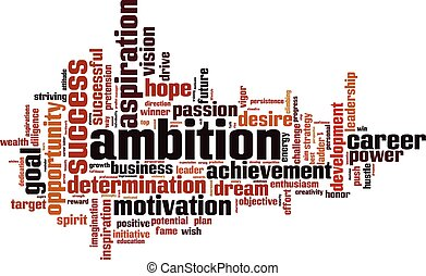 Ambition word cloud concept. Vector illustration