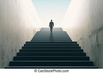 ambitions, concept, à, homme affaires, escalier grimpeur