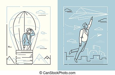 Ambitions - set of line design style illustrations