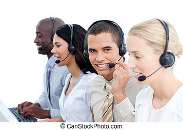 Ambitious business people working in a call center