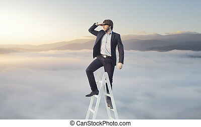 Ambitious businessman looking for his target - Ambitious...
