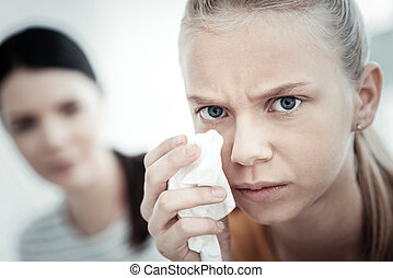 Ambitious teen girl blabbering during therapy