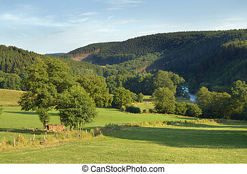 Landscape a Ambleve river valley in the Ardennes near Stavelot, Belgium