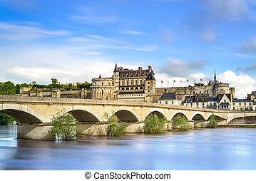 Amboise, village, bridge and medieval castle. Loire Valley,...