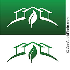 ambos, ícones conceito, sólido, casa, invertido, verde