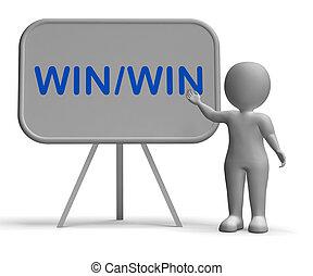 ambos, benefícios, ganhe, mostrando, whiteboard, estratégia,...