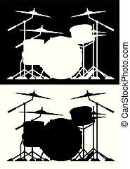 ambos, conjunto, silueta, aislado, ilustración, vector, negro, tambor, blanco
