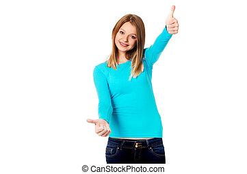 ambos, mujer, actuación, arriba, pulgares, manos