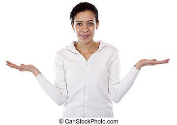 ambos, mujer, comparación, asideros, manos, presentación, o
