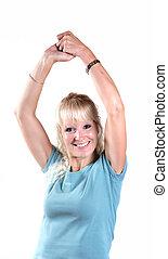 ambos, mulher, braços, levantamento, ar