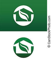 ambos, sólido, casa, invertido, ilustração, vetorial, verde, redondo