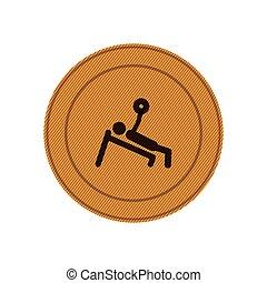 ambra, addestramento, cornice, weightlifting, circolare, uomo