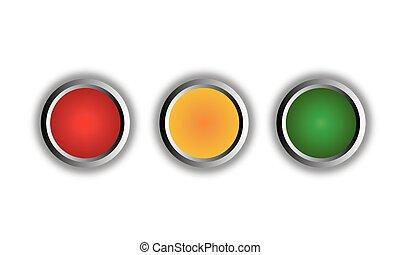 ambra, bottoni, verde, rotondo, rosso