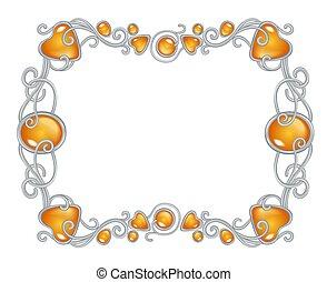 ambra, cornice, gemstones