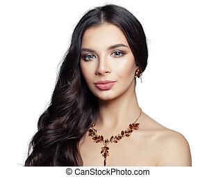 ambra, donna, gioielleria, oro, isolato, fondo, collana, orecchini, bianco