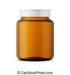 ambra, vetro, medicina, template., bottiglia