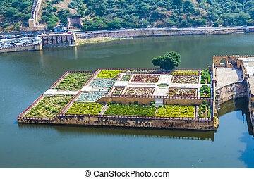 ambre, jaipur, inde, maota, lac, rajasthan, jardins, fort