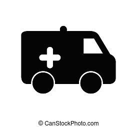 ambulância, ícone, fundo, ilustrado, vetorial, branca