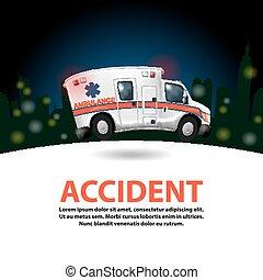 ambulância, acelerando, caricatura