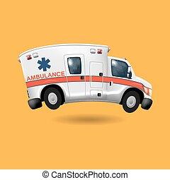 ambulância, caricatura, acelerando