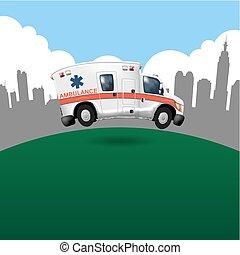 ambulância, caricatura, vetorial, acelerando