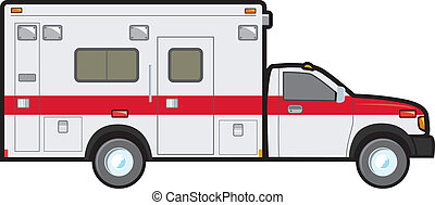 A common North American ambulance of the type found in local fire and resuce departments.