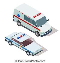 Ambulance and police cars 3d isometric vector
