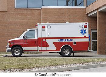 Ambulance at Hospital Emergency Parking Lot